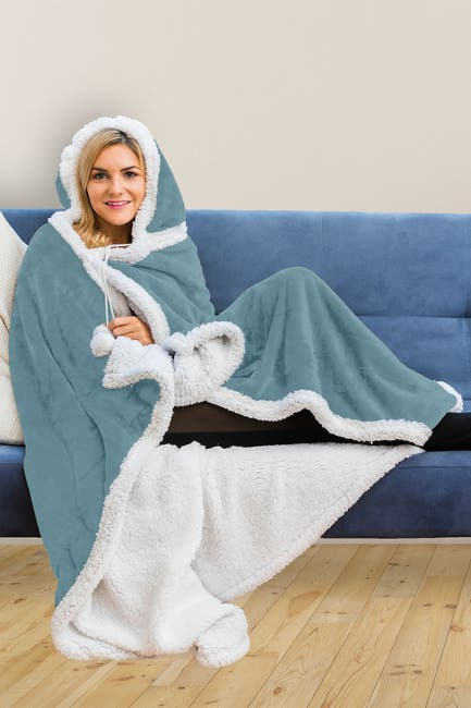 Image of Duck River Textile Solid Hooded Reversible Throw Blanket with Side Pockets - Tourmaline