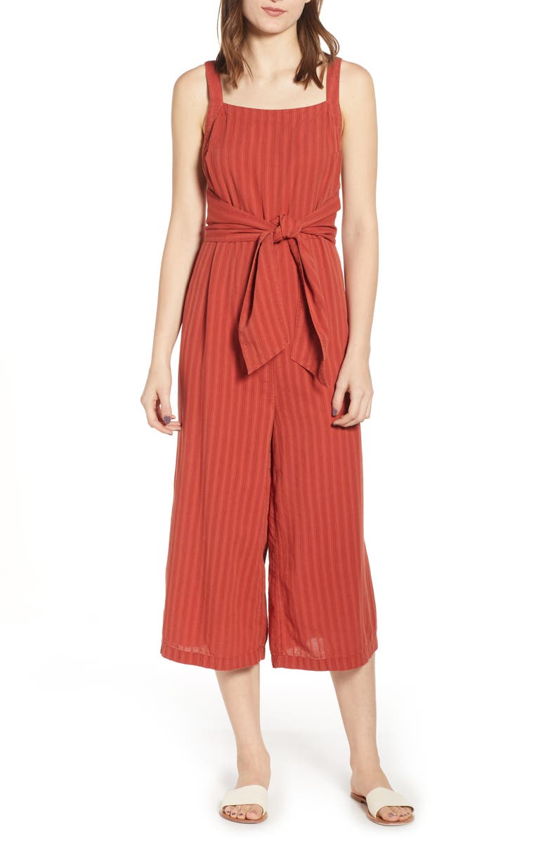 BP. Stripe Tie Waist Jumpsuit, Main, color, 600