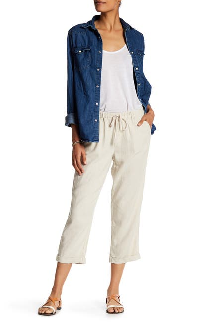 Image of SUSINA Linen Blend Slouch Crop Pants