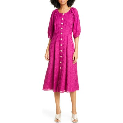 Kate Spade New York Floral Jacquard Midi Dress, Pink