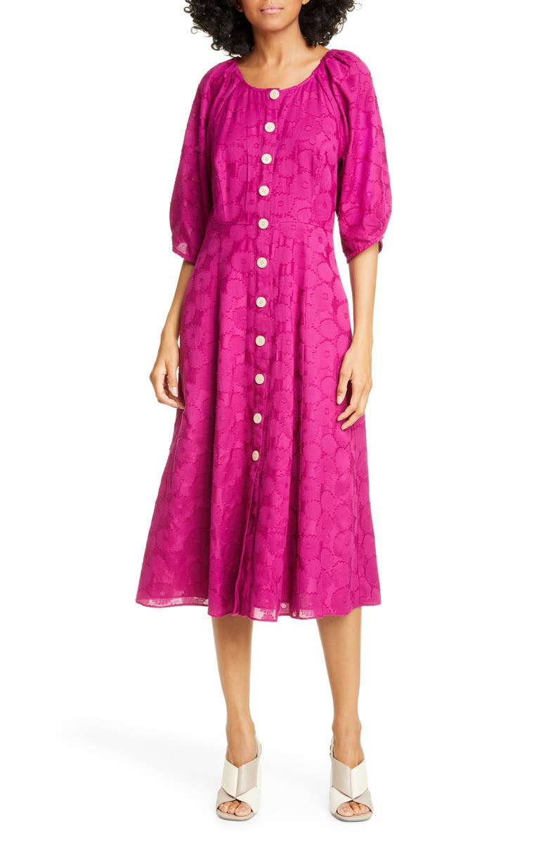 KATE SPADE NEW YORK floral jacquard midi dress, Main, color, BEET JUICE