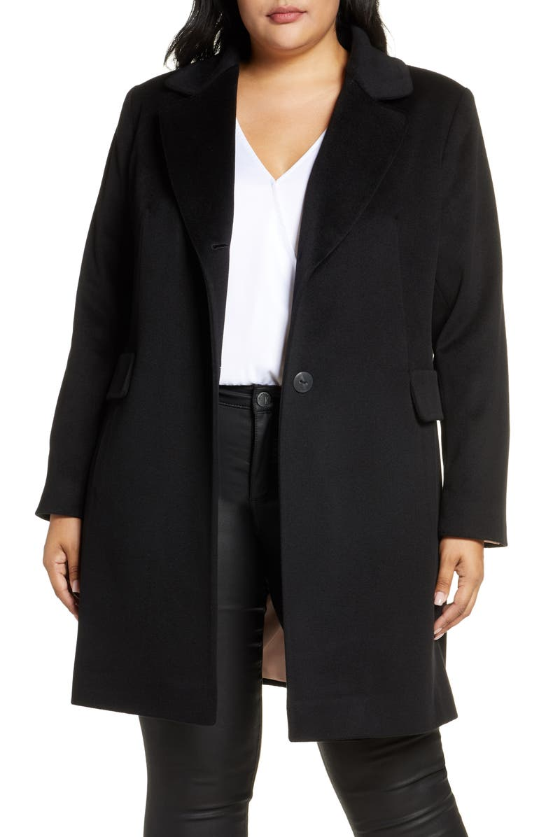 FLEURETTE Notch Collar Coat, Main, color, BLACK