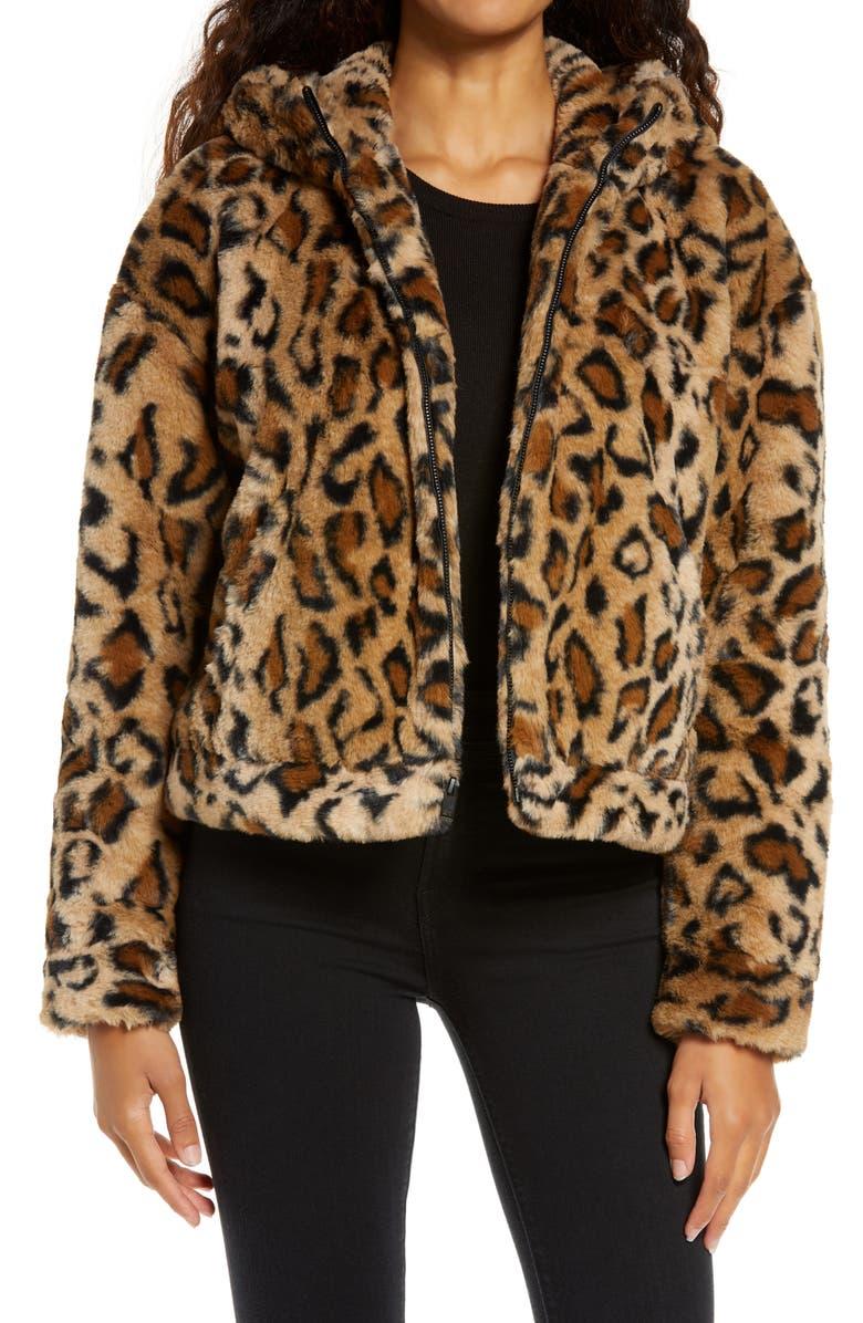 UGG ? Mandy Faux Fur Hooded Jacket, Main, color, LEOPARD II