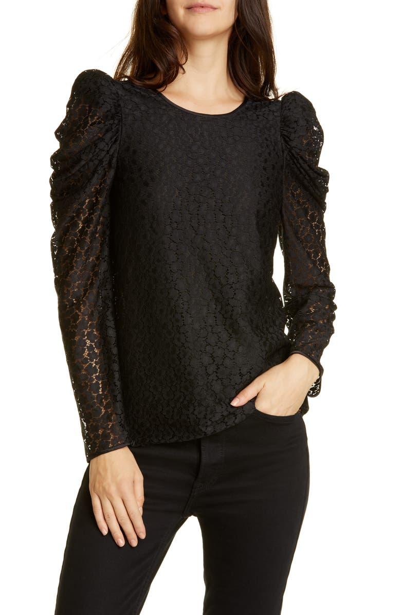 KATE SPADE NEW YORK flora leopard lace puff long sleeve blouse, Main, color, BLACK