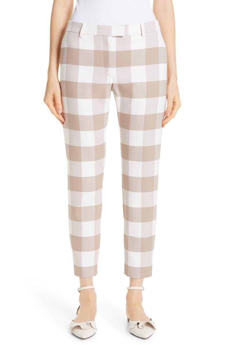 ALTUZARRA Gingham Stretch Wool Slim Ankle Pants, Main, color, 250