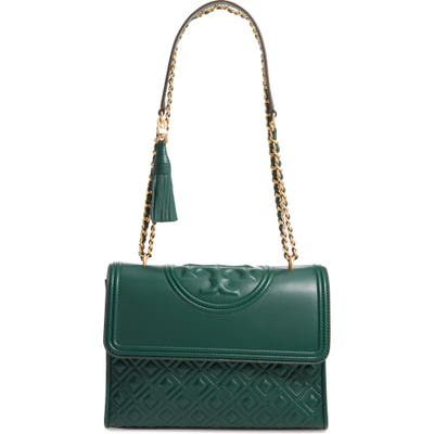 Tory Burch Fleming Leather Convertible Shoulder Bag - Green