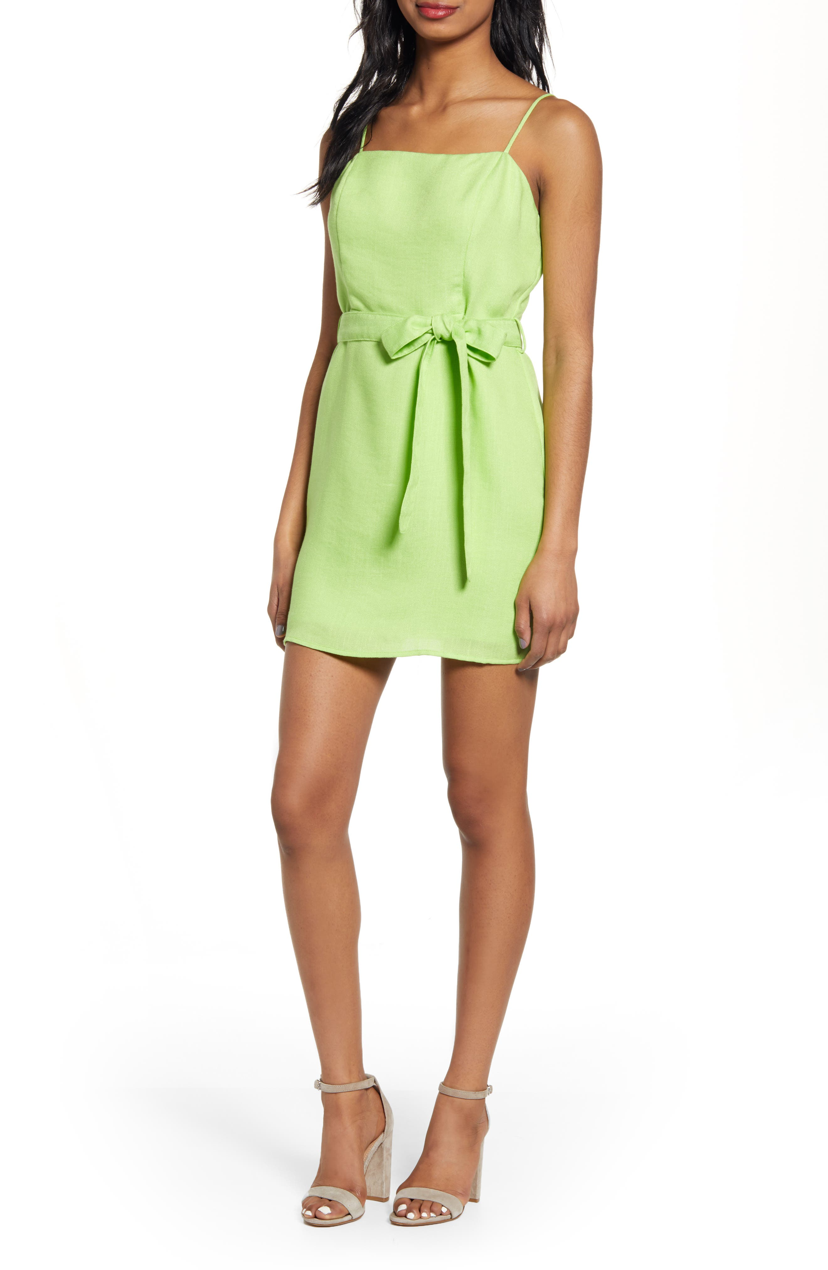 J.o.a. Tie Front Cotton & Linen Minidress, Green