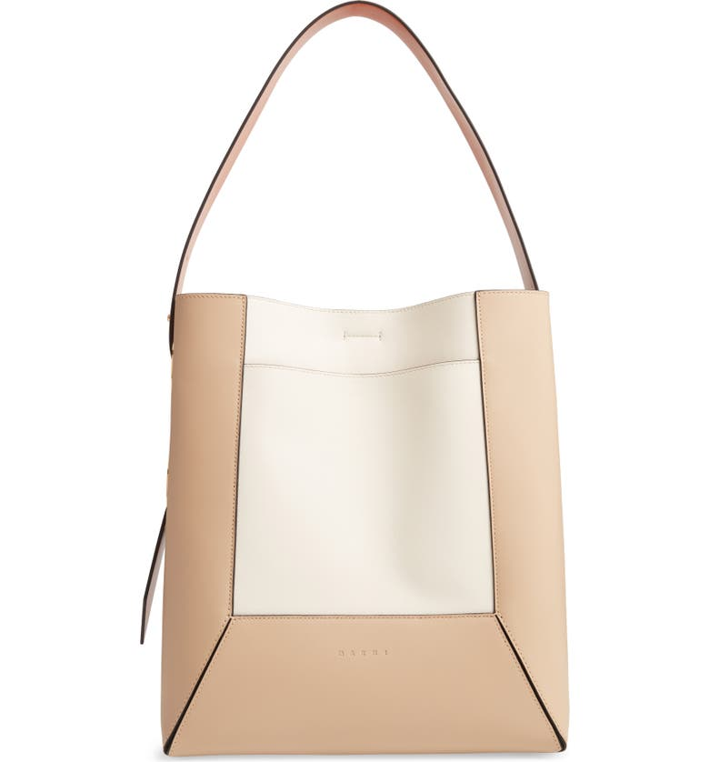 MARNI Nemo Colorblock Leather Hobo Bag, Main, color, CEMENT/ SILK WHITE/ APRICOT