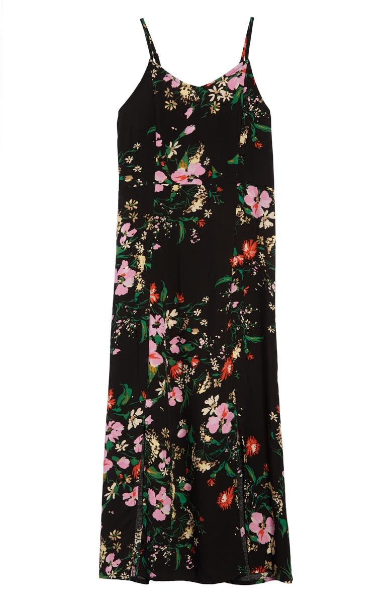 LOVE, FIRE Floral Print Midi Slipdress, Main, color, 001