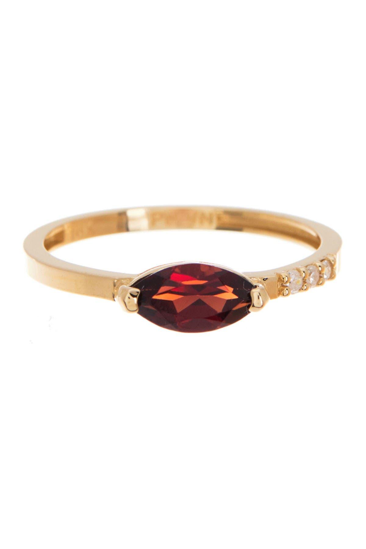 Dress Up Your Finger 14K Yelklow Gold Garnet Dianmoind Ring Size 7