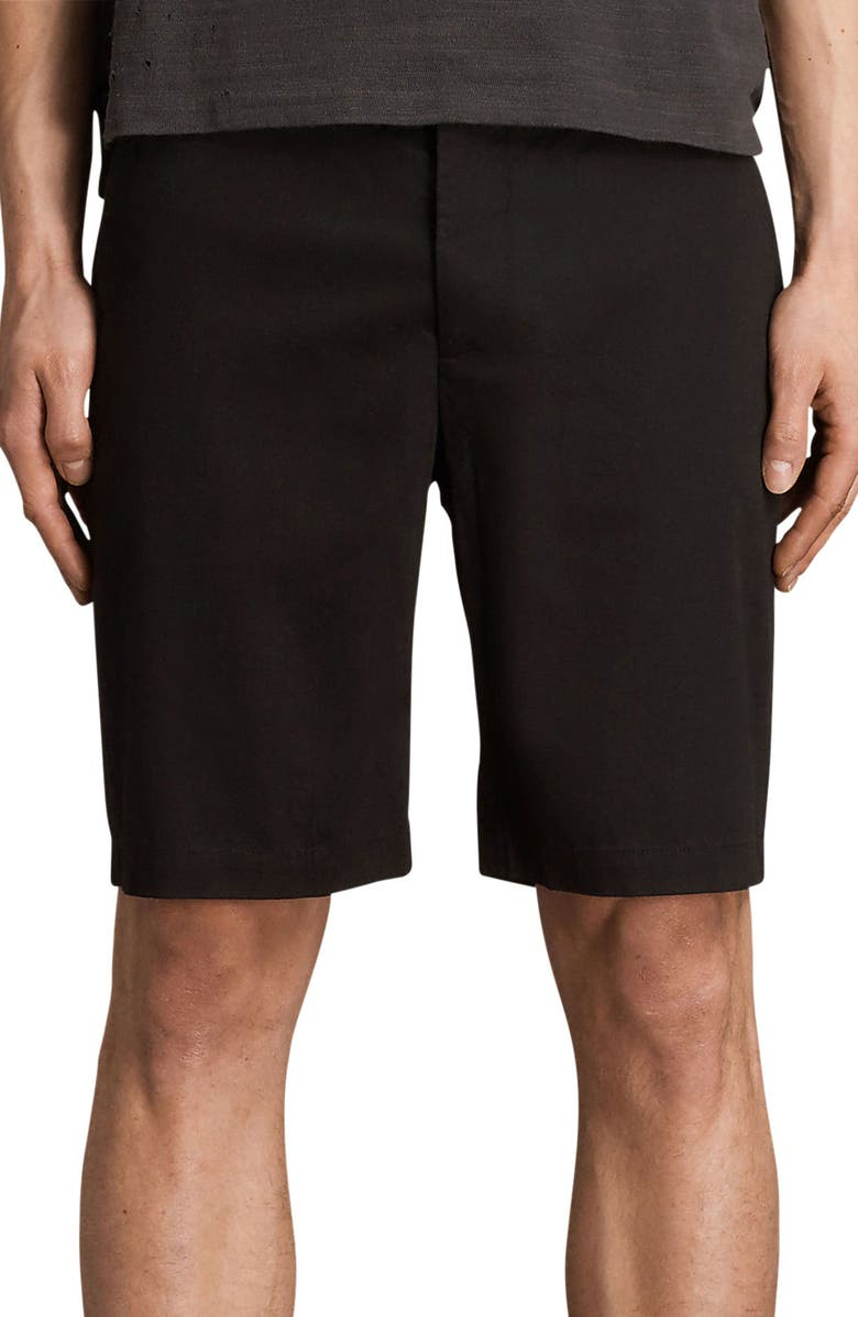 ALLSAINTS Cobalt Slim Fit Cotton Shorts, Main, color, BLACK