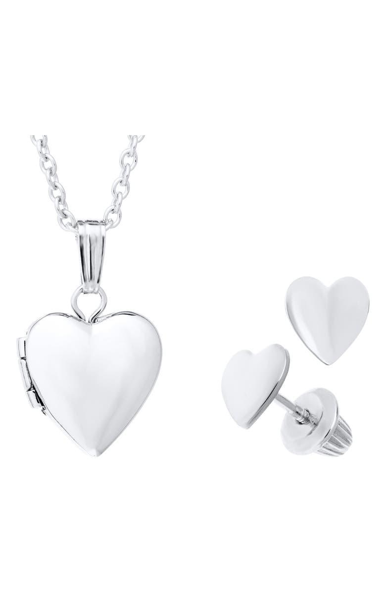MIGNONETTE Sterling Silver Heart Locket Necklace & Earrings Set, Main, color, SILVER
