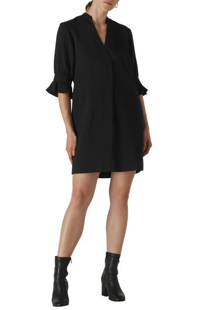 Whistles Dresses SONIA SPLIT NECK FRILL SLEEVE SHIFT DRESS