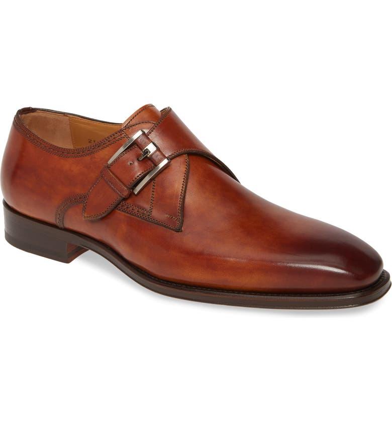 MAGNANNI Marco II Monk Strap Shoe, Main, color, COGNAC LEATHER
