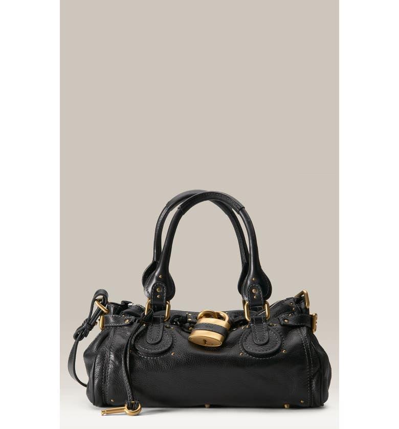 CHLOÉ 'Paddington' Leather Padlock Satchel, Main, color, 001