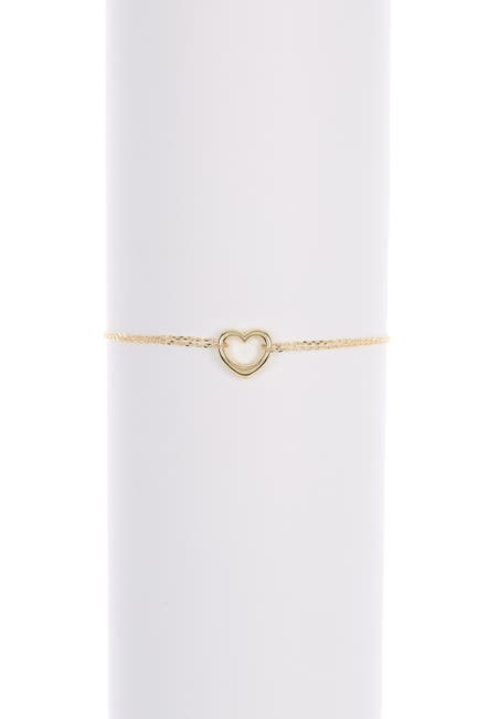 Image of Candela 10K Yellow Gold Heart Charm Double Chain Bracelet