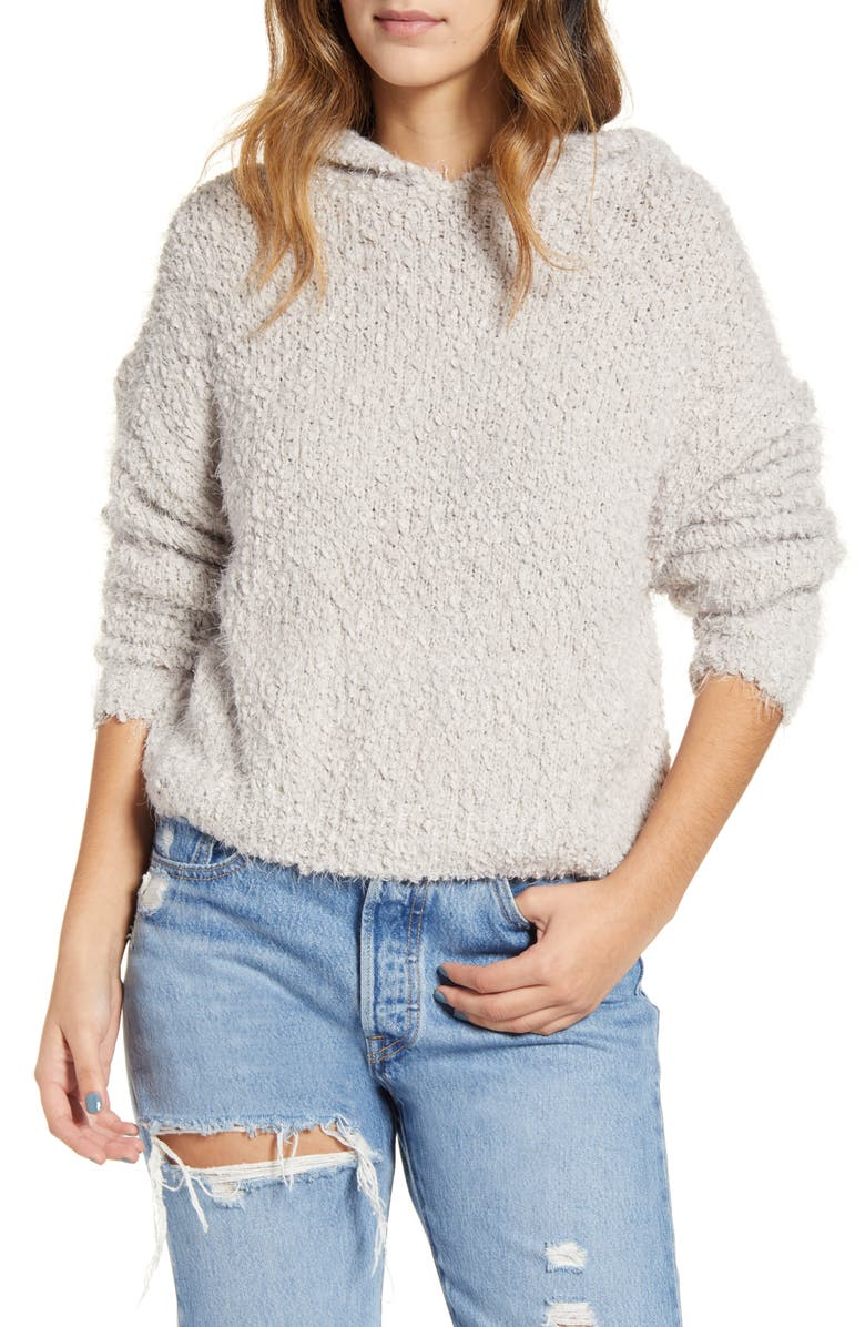 LIRA CLOTHING Posey Textured Hooded Sweater, Main, color, GREY