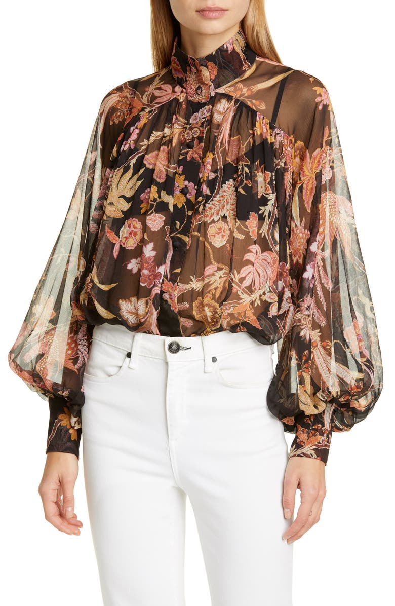 ZIMMERMANN Wavelength Floral Silk Blouse, Main, color, BLACK PHOENIX