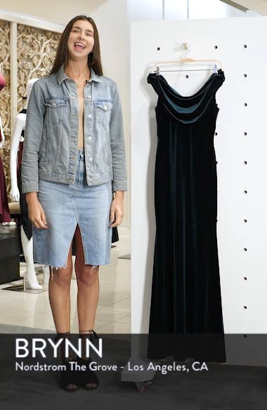 Cowl Neck Velvet Gown, sales video thumbnail