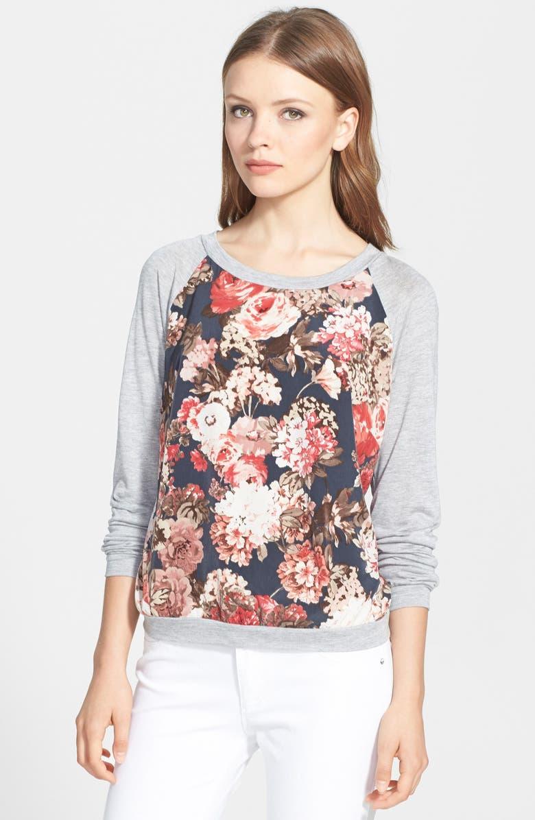 SEARCH FOR SANITY Floral Print Raglan Sweatshirt, Main, color, 020