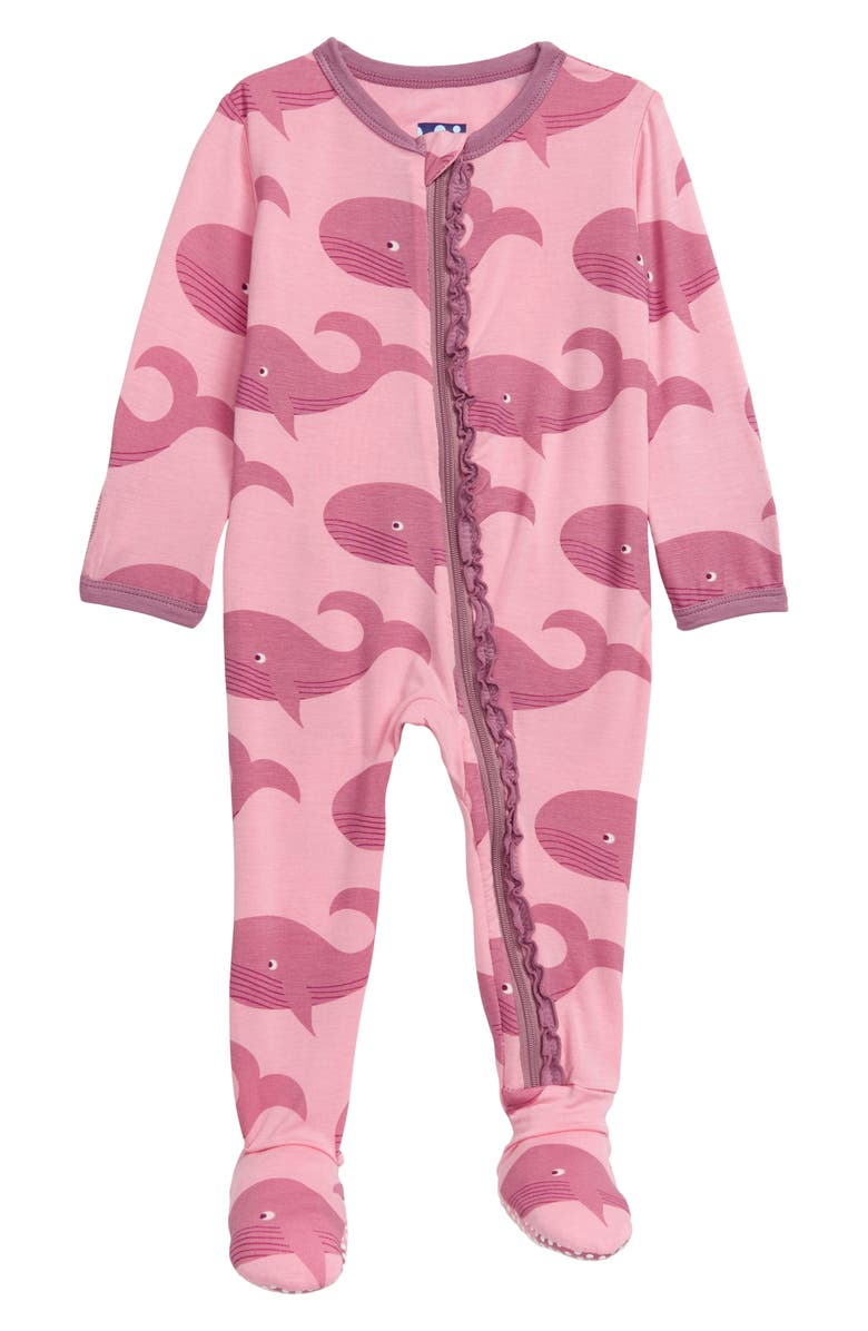 KICKEE PANTS Muffin Ruffle Whale Print Footie, Main, color, 692
