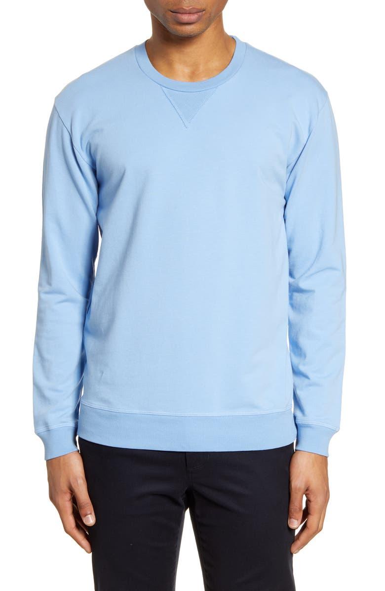 GOODLIFE Slim Micro Terry Crewneck Sweatshirt, Main, color, BLUE BELL