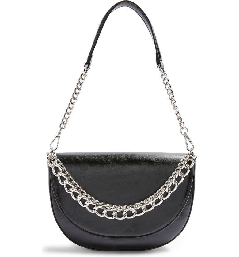 TOPSHOP Spill Chain Shoulder Bag, Main, color, BLACK