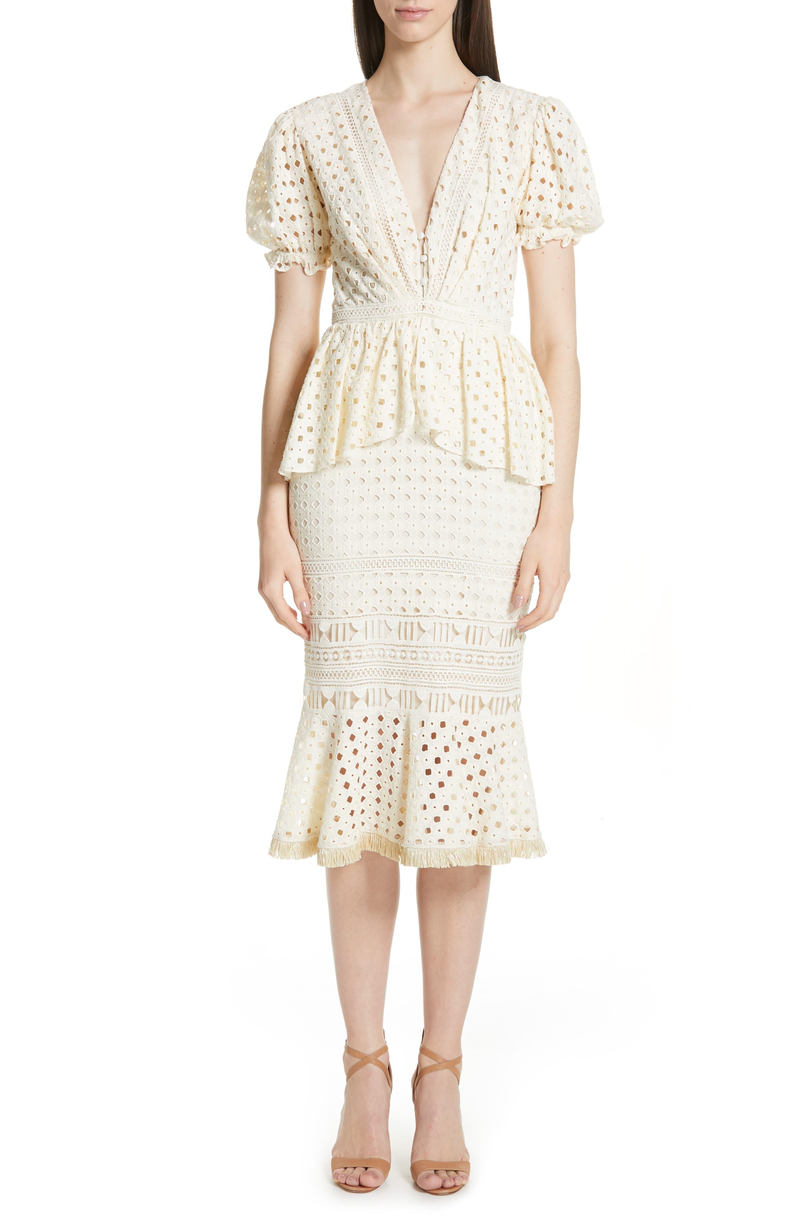 Johanna Ortiz Lovers Bridge Peplum Eyelet Dress