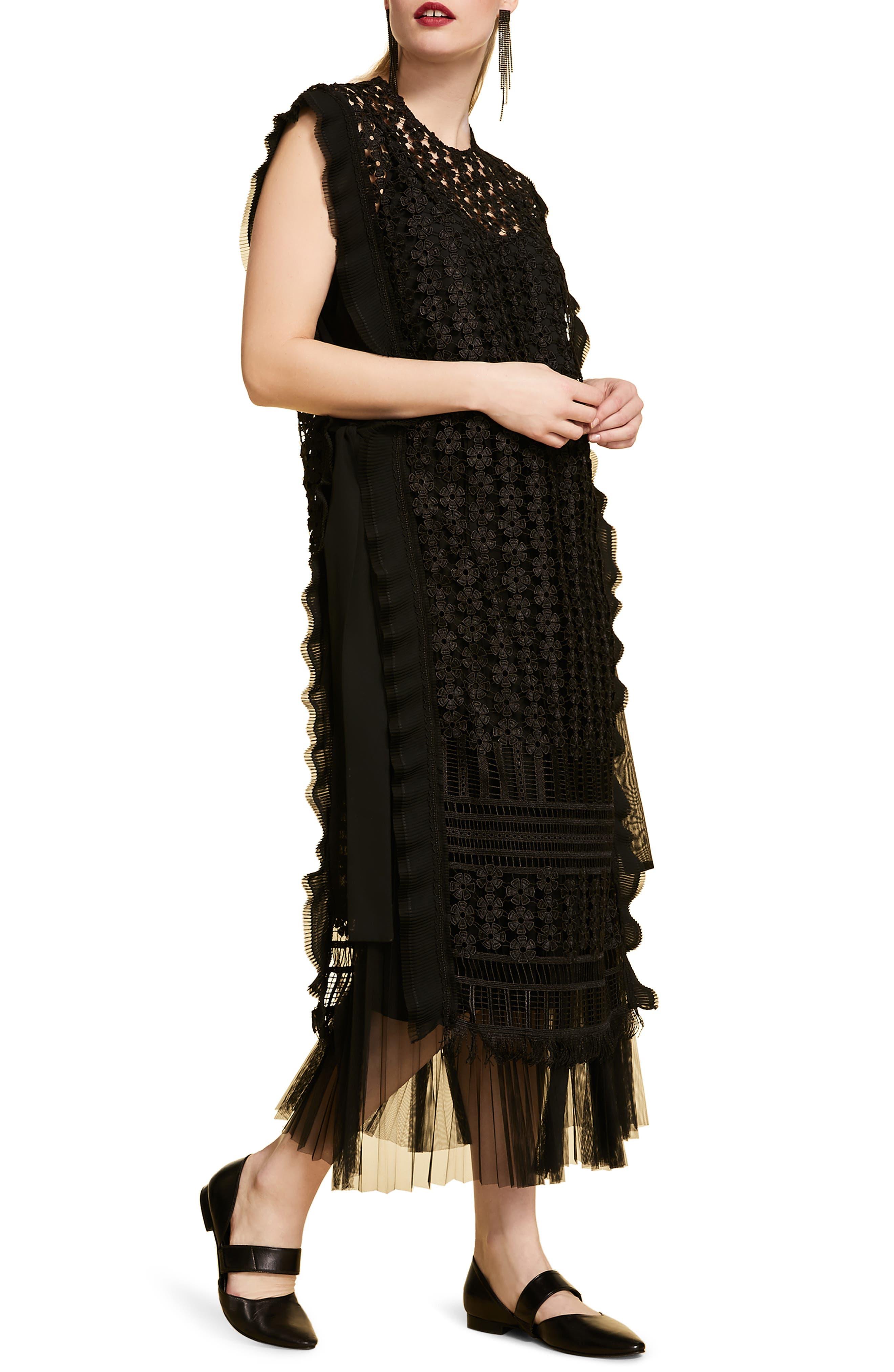 Plus Size Marina Rinaldi Deciso Lace & Tulle Maxi Dress, Black