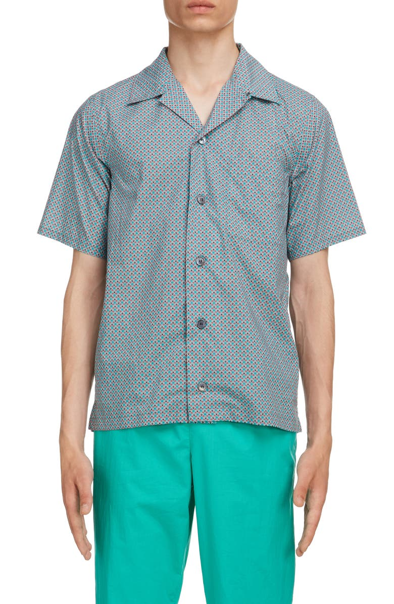 KENZO Tiger Print Short Sleeve Button-Up Camp Shirt, Main, color, 332