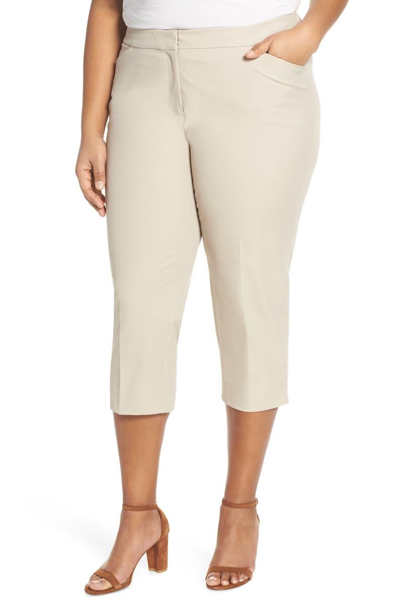 LAFAYETTE 148 NEW YORK Manhattan Skinny Capri Pants, Main, color, KHAKI