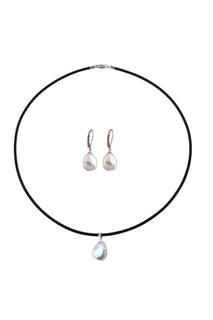 Image of Splendid Pearls 10-11mm Keshi Pearl Necklace & Earrings 2-Piece Set