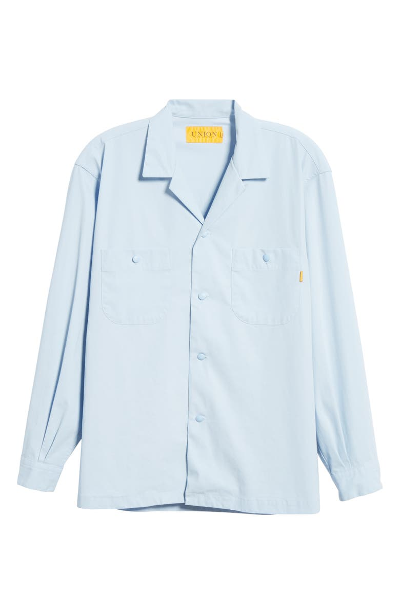 UNION LOS ANGELES Long Sleeve Button-Up Camp Shirt, Main, color, GULF BLUE