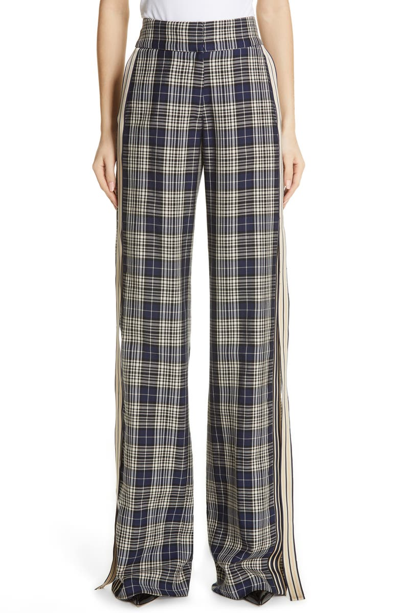 MONSE Racing Stripe Plaid Ribbon Pants, Main, color, NAVY PLAID