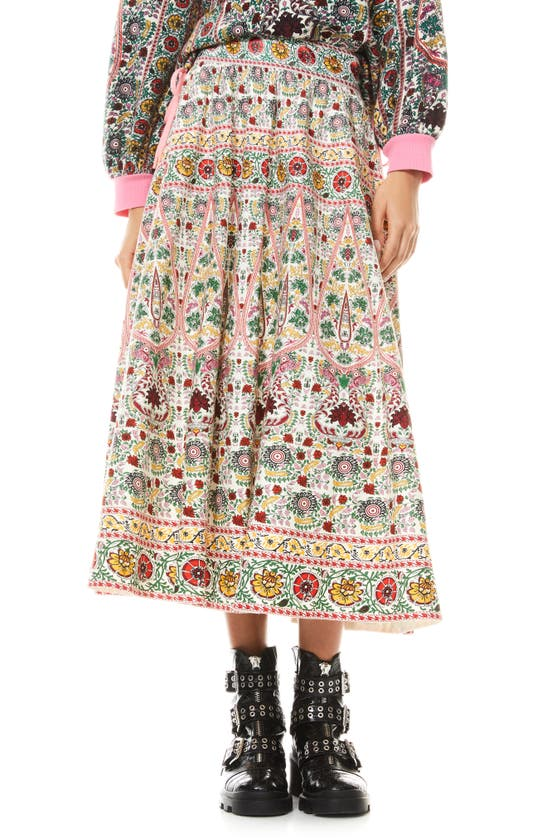 Alice And Olivia EARLA EMBROIDERED TRIM FLARE LINEN BLEND MIDI SKIRT