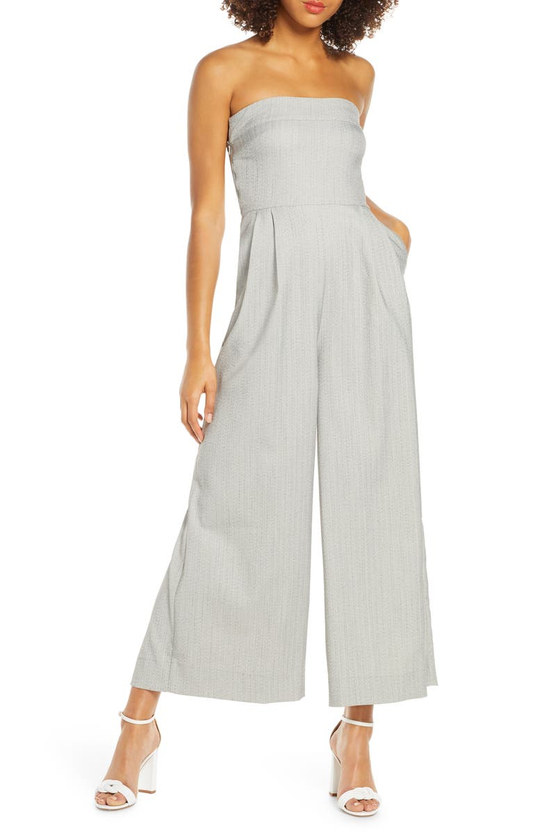 CAARA Brettin Herringbone Strapless Wide Leg Jumpsuit, Main, color, GREY