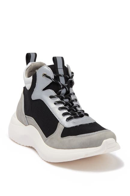 Image of Andrew Marc Mid Top Mixed Mesh Sneaker