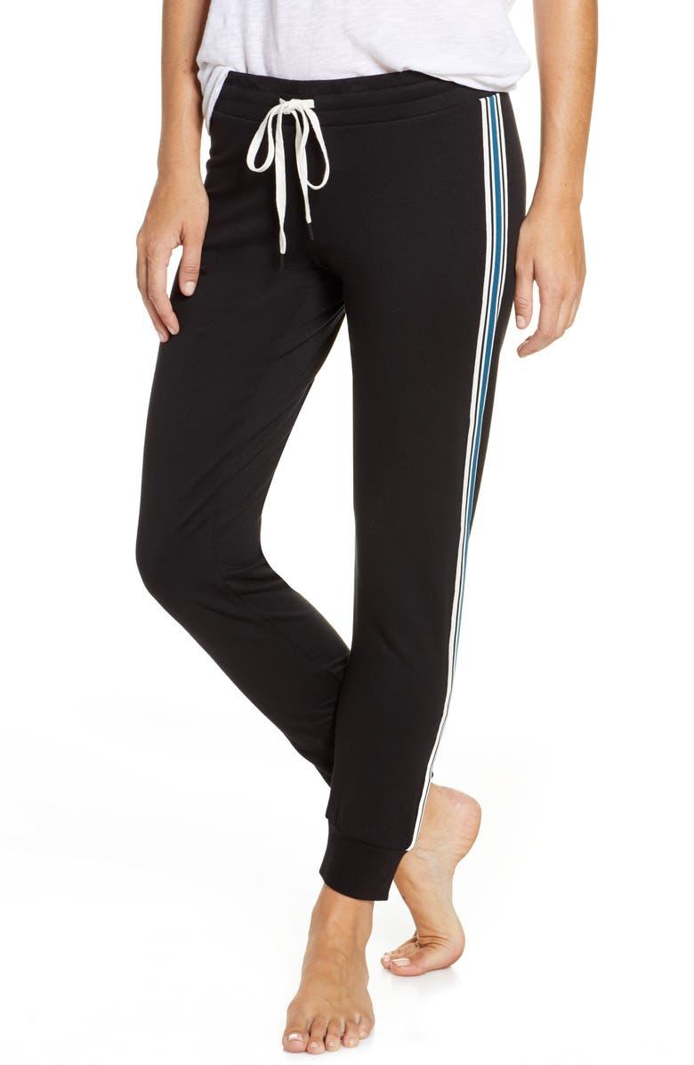 PJ SALVAGE Track Star Lounge Jogger Pants, Main, color, BLACK