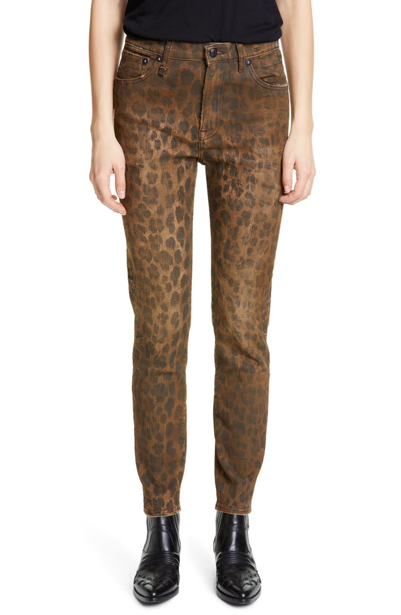 R13 Leopard Print Distressed High Waist Skinny Jeans, Main, color, 242