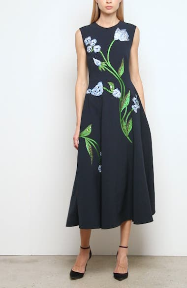 Floral Embroidered Stretch Crepe Midi Dress, video thumbnail