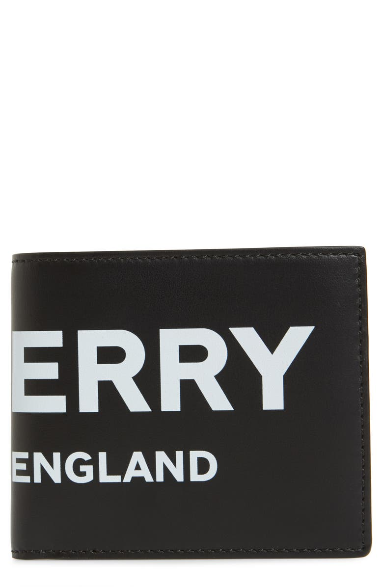 BURBERRY Logo Leather Wallet, Main, color, BLACK