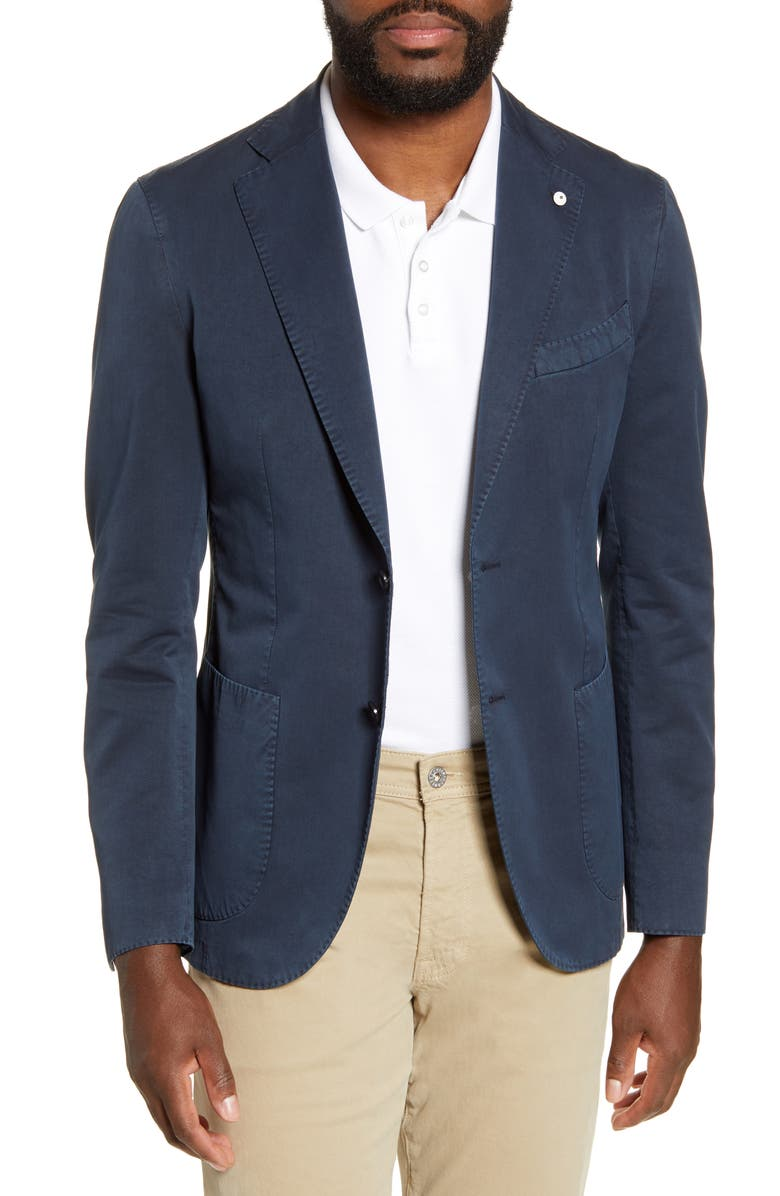 L.B.M. 1911 Trim Fit Cotton & Silk Sport Coat, Main, color, NAVY