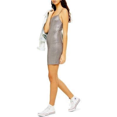 Topshop Metallic Foil Body-Con Minidress, US (fits like 0) - Grey
