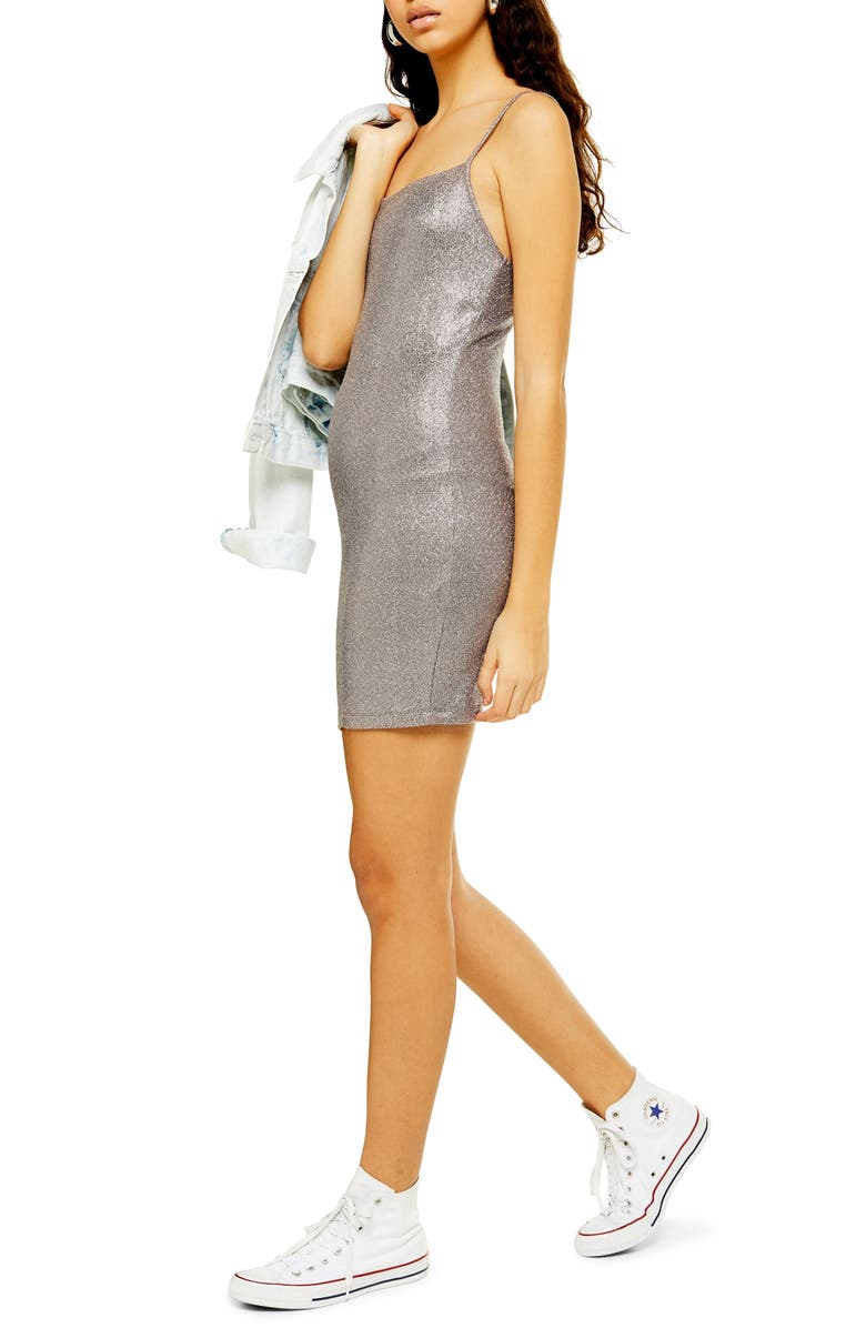TOPSHOP Metallic Foil Body-Con Minidress, Main, color, GREY