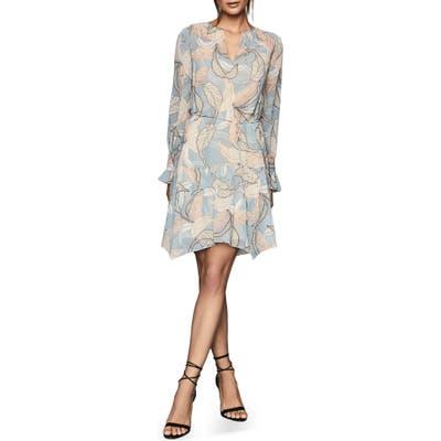 Reiss Dara Leaf Print Dress, US / 14 UK - Blue