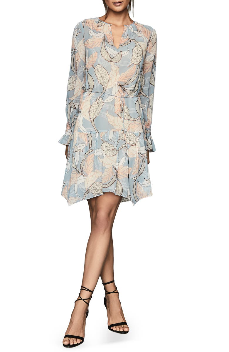 Dara Leaf Print Dress by Reiss