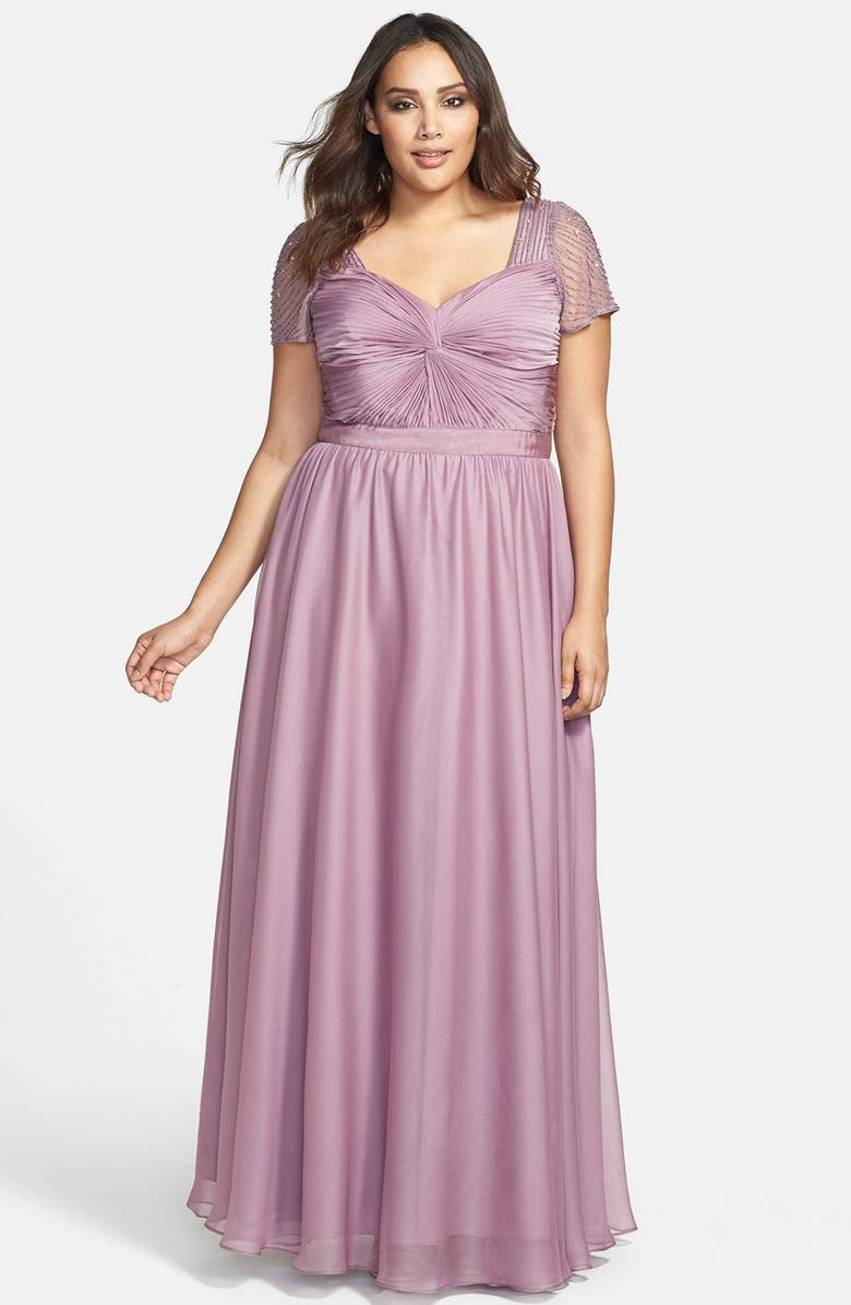 17c68225a43 Adrianna Papell Beaded Flutter Sleeve Gown (Plus Size) | Nordstrom
