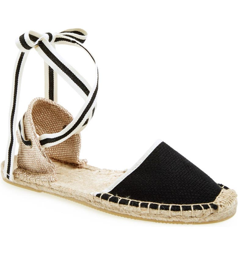 SOLUDOS Lace-Up Espadrille Sandal, Main, color, 001