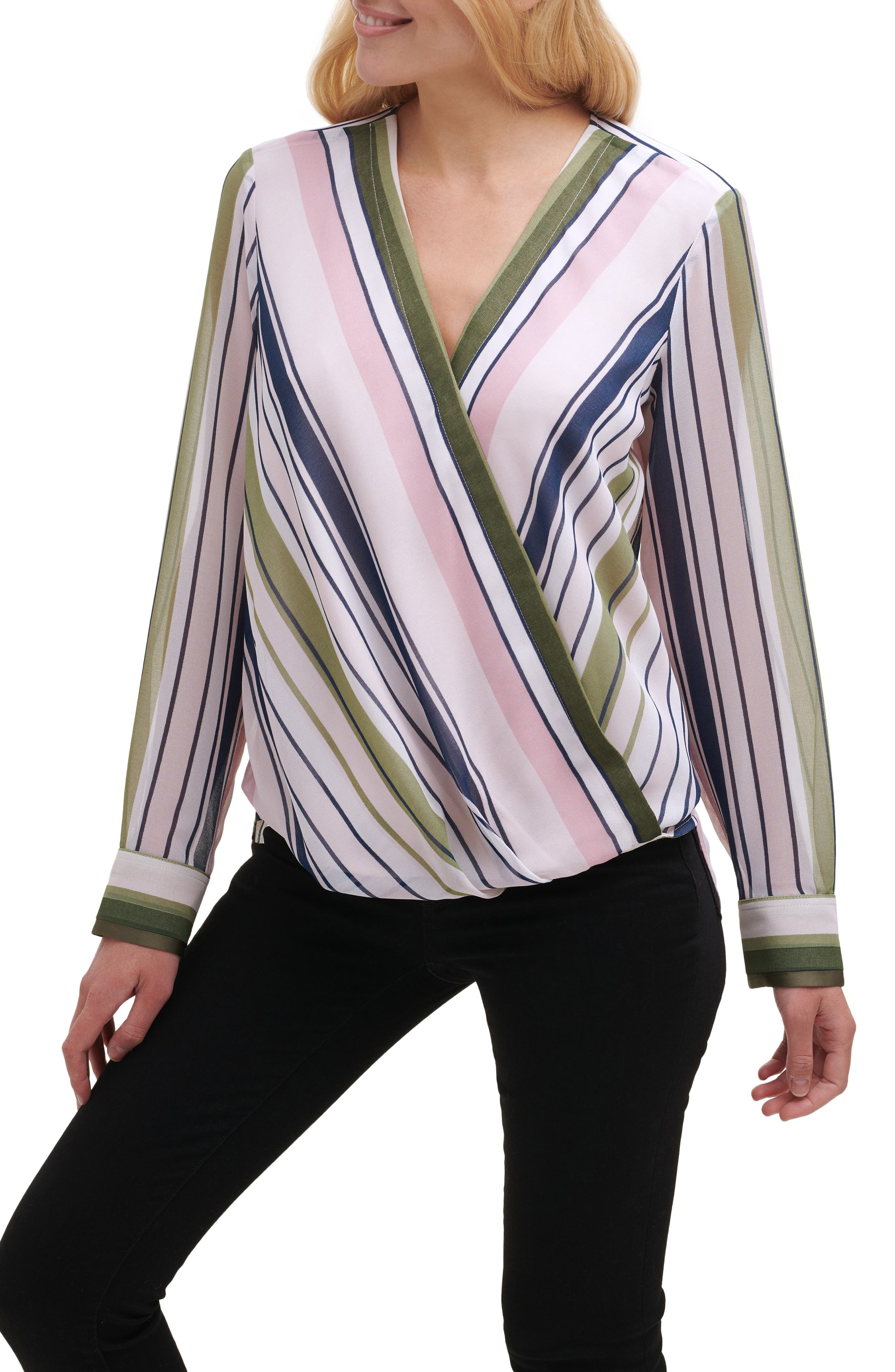 Stripe Crossover Blouse