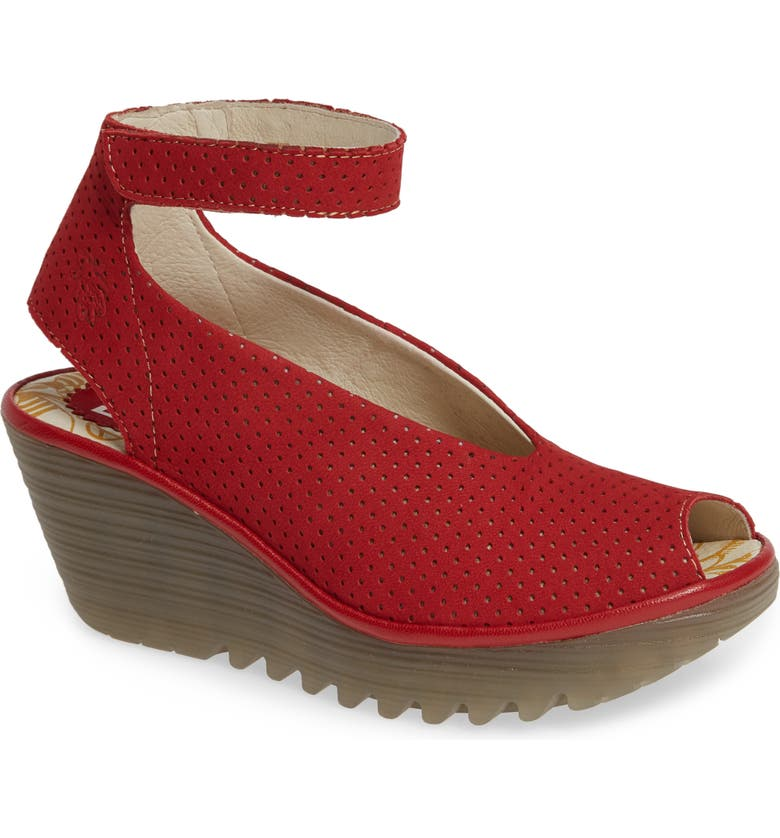 FLY LONDON 'Yala' Perforated Leather Sandal, Main, color, LIPSTICK RED CUPIDO/ MOUSSE